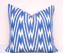 Blue Chevron Ikat Accent Pillow Case
