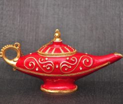 Aladdin lamp metal red, Red Oriental Boho Style Brass Incense Burner