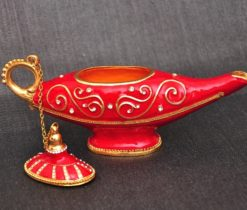 Red Oriental Boho Style Brass Incense Burner