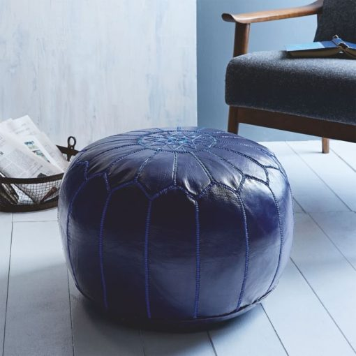 Navy Blue Natural Leather Moroccan Pouffe Ottoman