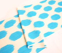 Blue Polka Dot Linen Fabric Upholstery