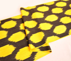 Yellow Black Ikat Cotton Fabric