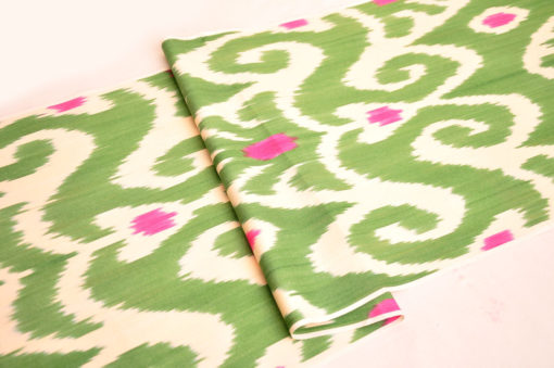 Green Ikat Handmade Clothing Fabric