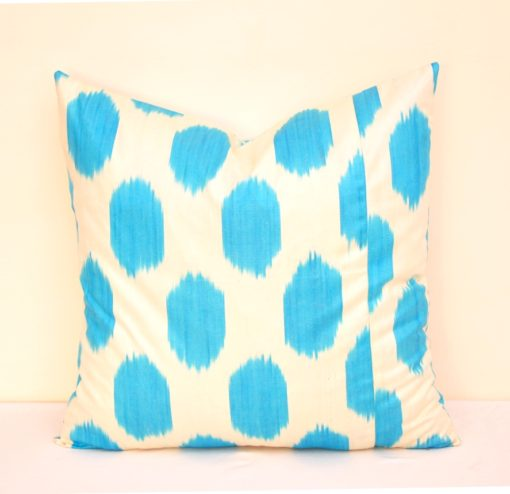 Blue Polka Dot Decorative Ikat Pillow