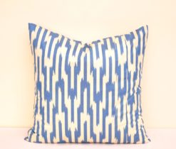 Blue Cotton Ikat Decorative Pillow