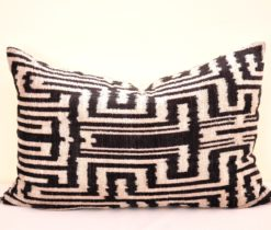 Black Labyrinth Velvet Designer Pillow