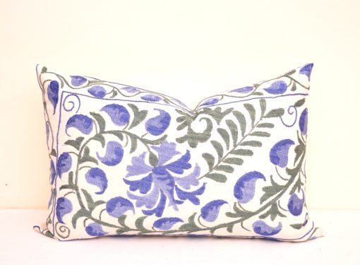 Blue Embroidered Suzani Accent Pillow
