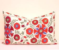 Embroidered Silk Suzani Pillow Cover