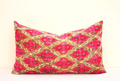 Two Sided Velvet Decorative Ikat Pillow