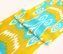 Lime Green Blue Indian Ikat Fabric