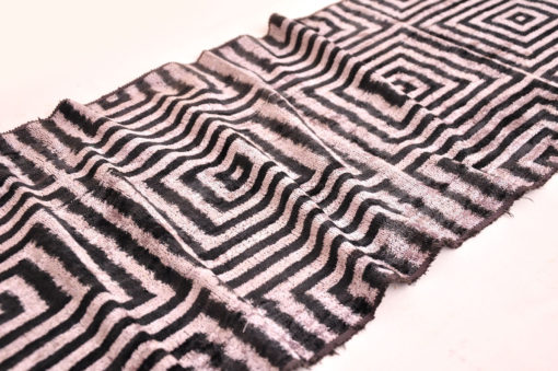 Black Labyrinth Silk Velvet Fabric