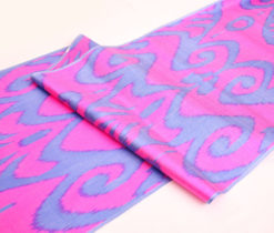 Hot Pink Blue Designer Ikat Fabric