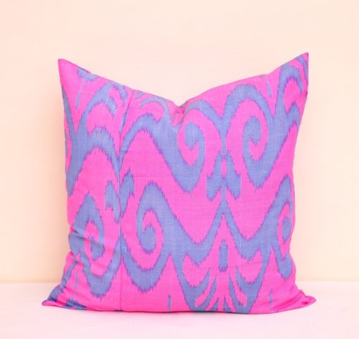 Fuchsia Throw Ikat Pillow