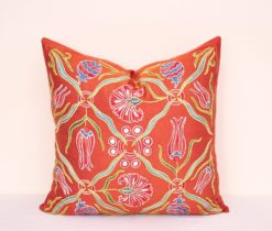 Red Suzani Tulip Embroidered Pillow
