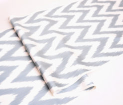 Gray Chevron Designer Ikat Fabric