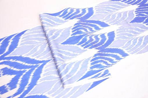 Blue Gray Leaf Design Ikat Fabric