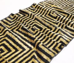 Black Golden Velour Handwoven Fabric