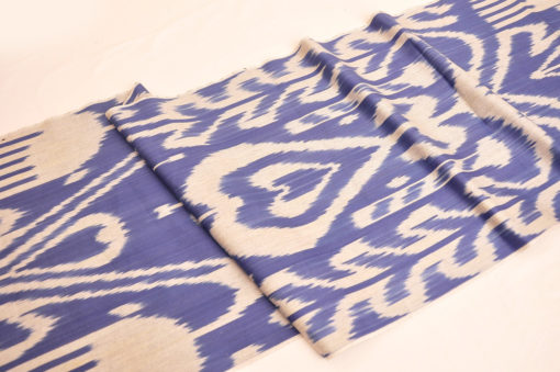 Blue Cotton Ikat Fabric By The Yard