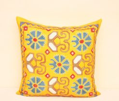 Yellow Suzani Euro Shams Pillow