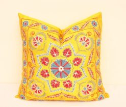 Yellow Suzani Throw Toss Pillow