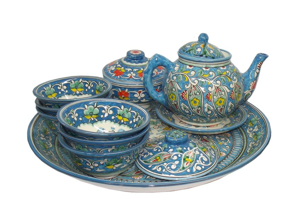 Blue ceramic tea-set