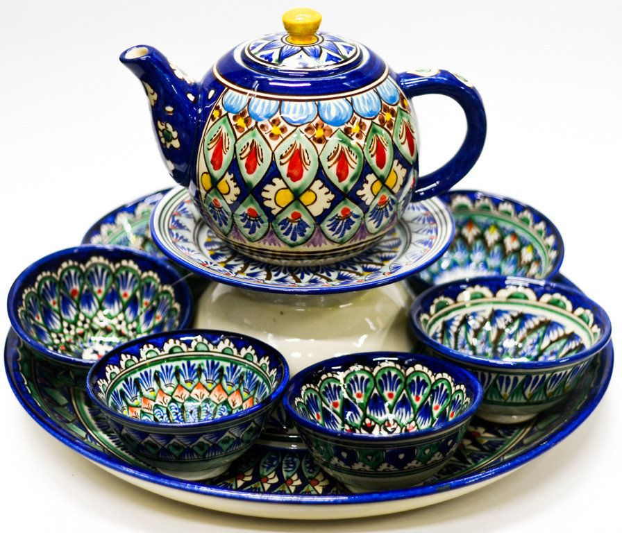 Naksha ceramic tea-set and plate (41cm)