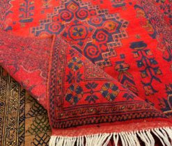 Red Afghani Hand - Made Rug