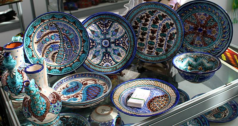 Blue ceramic dishes
