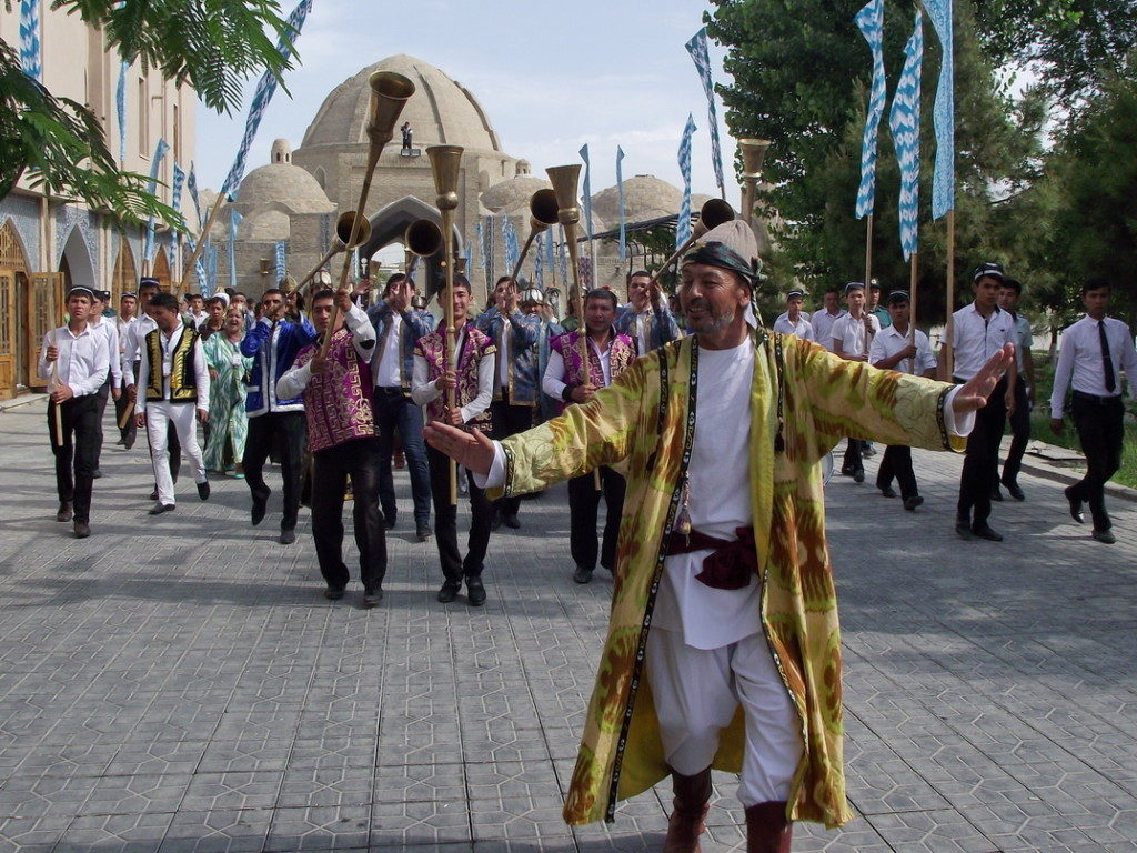 Parade in the historical center of Bukhara