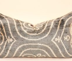 Grey Velvet Ikat Cushion