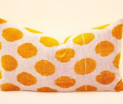 Yellow Dot Ikat Pillow