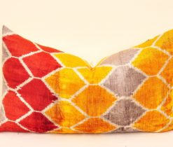 Geometric Velvet Ikat Pillow
