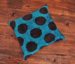 Blue Dot Velvet Pillow