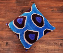 Drop Blue Velvet Cushion
