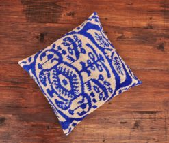 Blue Scroll Velvet Pillow