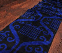 Black Blue Velvet Ikat
