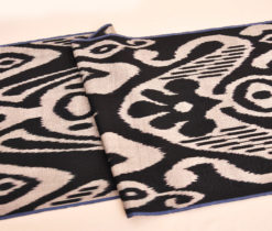 Uzbek Black Silk Ikat Fabric