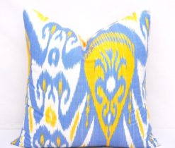 Yellow Feather Ikat Pillow