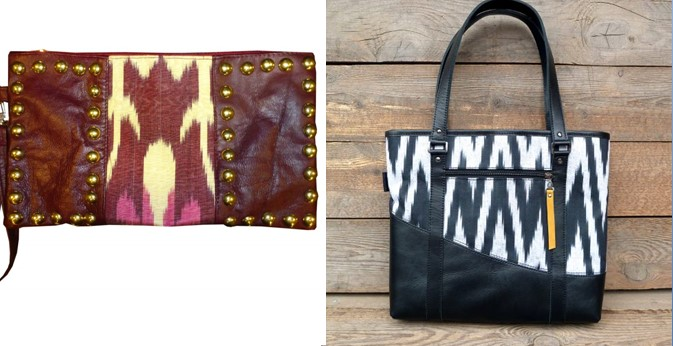 Leather ikat bags and purses