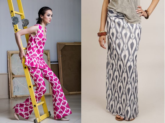 Ikat trousers and skirt