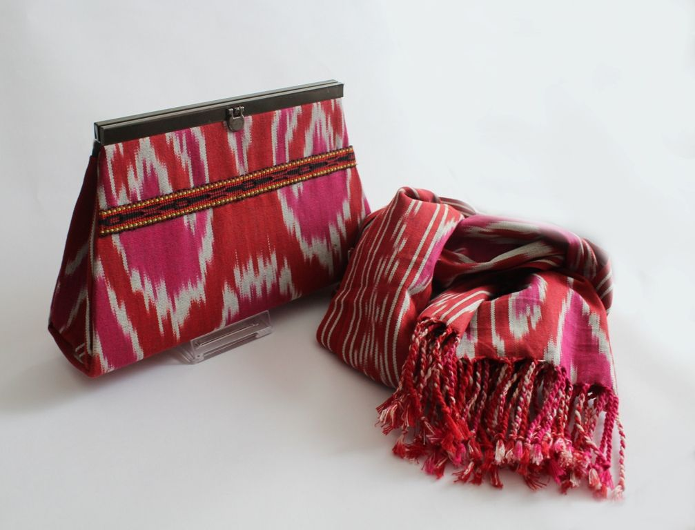 Ikat clutch and scarf
