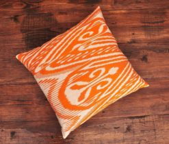 Fiery Orange Ikat Cushion