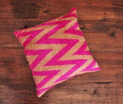 Pink Herringbone Velvet Cushion