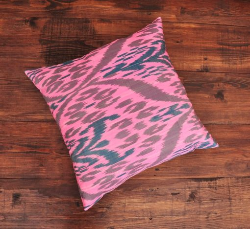 Calico Pink Ikat Cushion