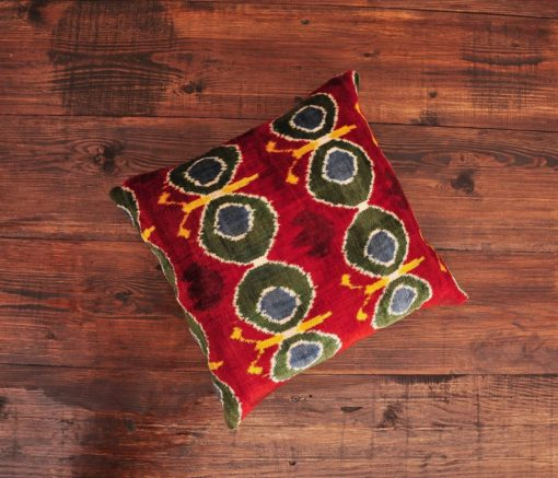 Peacock Velvet Ikat Cushion