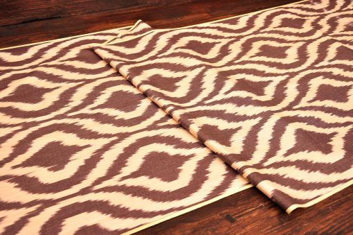Brown Ogee Silk/Cotton Textile
