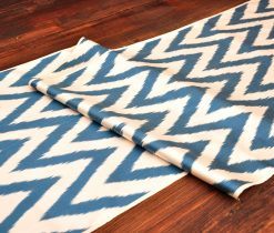 Blue Chevron Silk/Cotton Fabric