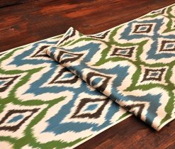 Rhombus Silk/Cotton Ikat Fabric