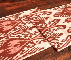 Brick-Red Ikat Silk/Cotton Fabric