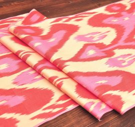 Butterfly Design Pink Red Beige Ikat Fabric